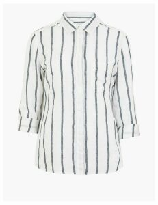 M&S Collection Pure Linen Striped Shirt