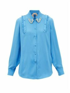 No. 21 - Crystal And Faux-pearl Embellished Crepe Shirt - Womens - Blue