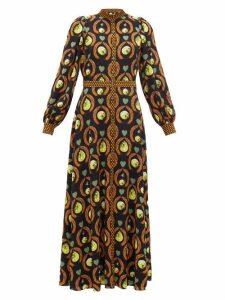 Temperley London - Roselle Cosmic-print Crepe Dress - Womens - Black Multi