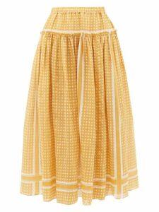 Sara Lanzi - Dot-print Voile Midi Skirt - Womens - Yellow