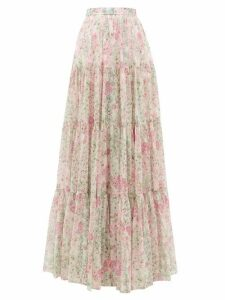 Giambattista Valli - Tiered Floral-print Silk Maxi Skirt - Womens - Ivory Multi