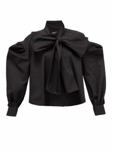 Elzinga - Tie-neck Cotton-poplin Shirt - Womens - Black