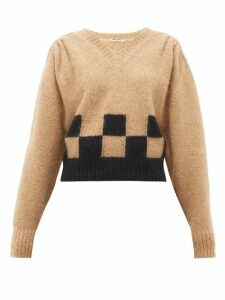 Miu Miu - Checkerboard Mohair-blend Sweater - Womens - Camel