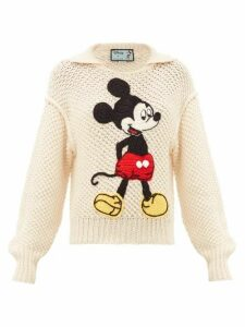 Gucci - Mickey Mouse Crochet-appliqué Wool Sweater - Womens - Ivory
