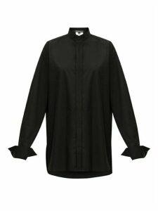 Ann Demeulemeester - Plastron-stitched Cotton-poplin Shirt - Womens - Black