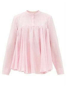Giambattista Valli - Gathered Silk Crepe De Chine Blouse - Womens - Light Pink