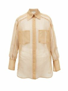 Fendi - Vichy Silk-organza Shirt - Womens - Beige