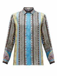 Etro - Paisley-print Silk-faille Blouse - Womens - Blue Multi