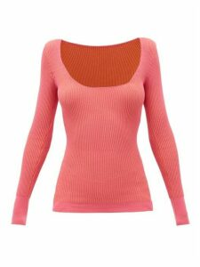 Jacquemus - Rosa Scoop-neck Ribbed-jersey Sweater - Womens - Pink