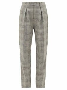 Ganni - Prince Of Wales-check Tailored Trousers - Womens - Grey