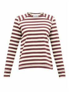 Ganni - Striped Cotton-jersey Top - Womens - White Multi