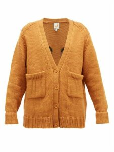Joostricot - Smiley-embroidered Wool-blend Cardigan - Womens - Light Brown