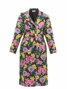 Balenciaga - Belted Floral-print Cotton-twill Trench Coat - Womens - Multi