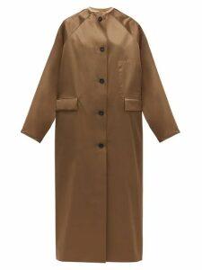 Kassl Editions - Reversible Single-breasted Satin Coat - Womens - Brown Multi