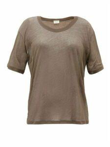Saint Laurent - Round-neck Cotton-jersey T-shirt - Womens - Khaki