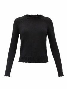 Saint Laurent - Laddered Cotton Sweater - Womens - Black