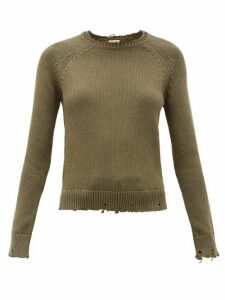 Saint Laurent - Laddered Cotton Sweater - Womens - Khaki