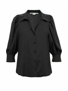 Stella Mccartney - Balloon-sleeve Crepe De Chine Blouse - Womens - Black