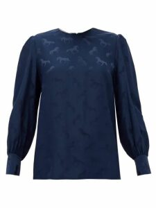 Stella Mccartney - Horse-jacquard Silk-blend Blouse - Womens - Navy