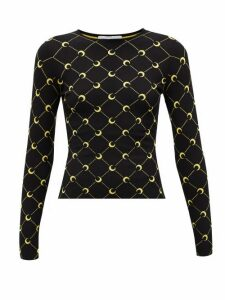 Marine Serre - Crescent Moon-jacquard Sweater - Womens - Black Multi