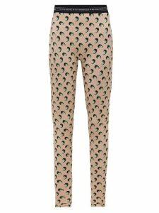 Marine Serre - Crescent Moon-print Stretch-jersey Leggings - Womens - Beige Multi
