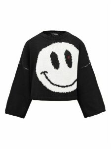 Raf Simons - Smiley-intarsia Cropped Wool Sweater - Womens - Black