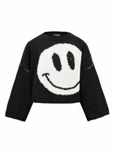 Raf Simons - Smiley-intarsia Cropped Wool Sweater - Womens - Black