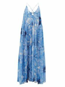 Jacquemus - Mistral Floral-print Chiffon Banded Maxi Dress - Womens - Blue