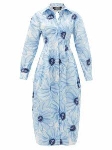 Jacquemus - Valensole Floral-print Cotton-poplin Shirt Dress - Womens - Blue