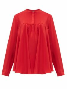 Giambattista Valli - Gathered Silk Crepe De Chine Blouse - Womens - Red