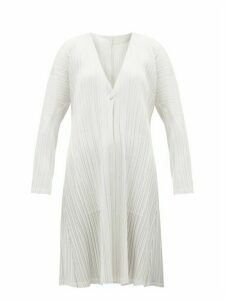 Pleats Please Issey Miyake - Mellow Technical-pleated Jersey Coat - Womens - White