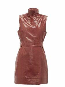Ganni - Sleeveless Leather Wrap Dress - Womens - Burgundy