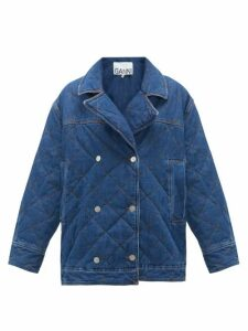 Ganni - Quilted Double-breasted Denim Jacket - Womens - Denim