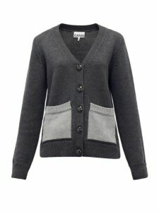 Ganni - Patch-pocket Wool Cardigan - Womens - Dark Grey