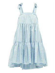 Batsheva - Amy Tie-straps Tiered Faille Dress - Womens - Light Blue