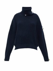 Christopher Kane - Studded Roll-neck Sweater - Womens - Navy