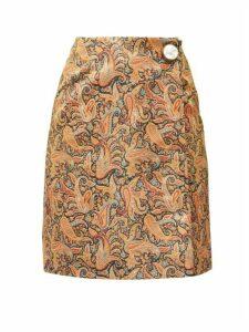 Christopher Kane - Paisley-print Satin Mini Skirt - Womens - Brown Print