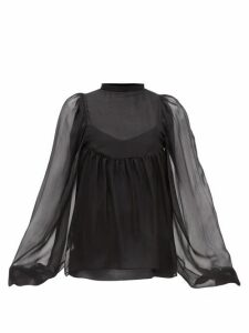 Rochas - Balloon-sleeve Silk-chiffon Blouse - Womens - Black