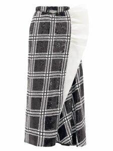 Rodarte - Ruffled Checked Sequin Maxi Skirt - Womens - Black Silver