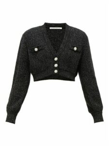 Alessandra Rich - Crystal-embellished Cropped Cardigan - Womens - Black