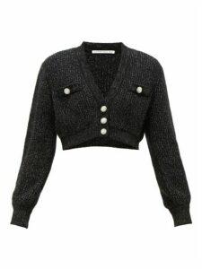 Alessandra Rich - Crystal-embellished Cropped Cardigan - Womens - Black