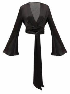 Galvan - Corolle Tie-front Crinkled-crepe Blouse - Womens - Black