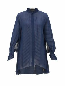 Roland Mouret - Staten Batwing-sleeve Pleated Crepe Blouse - Womens - Navy