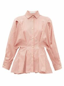 Palmer//harding - Sunda Pleated Striped Cotton-poplin Shirt - Womens - Red White