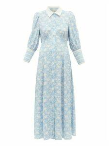 Beulah - Calla Floral-print Silk Shirtdress - Womens - Blue White