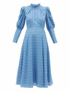 Beulah - Evanthe Broderie-anglaise Cotton Dress - Womens - Light Blue