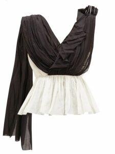Vika Gazinskaya - Asymmetric Draped Cotton-blend Blouse - Womens - Black White