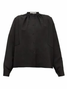 Jil Sander - Sunday P.m. Gathered-neck Satin Blouse - Womens - Black