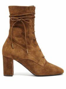 Saint Laurent - Laura Lace-up Suede Boots - Womens - Tan
