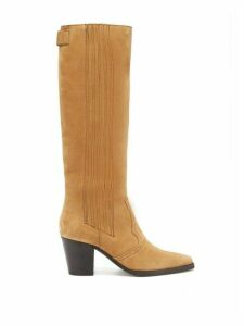 Ganni - Square-toe Suede Knee-high Boots - Womens - Beige